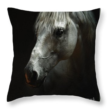 White Horse Portrait Throw Pillow