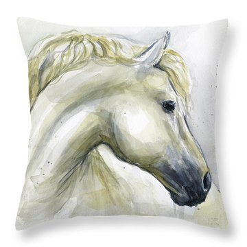White Horse Watercolor Throw Pillow
