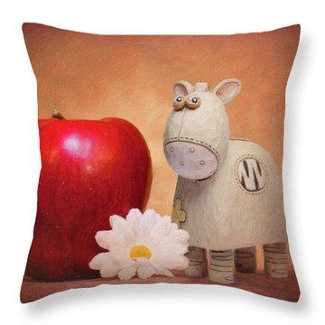 White Horse With Apple Throw Pillow