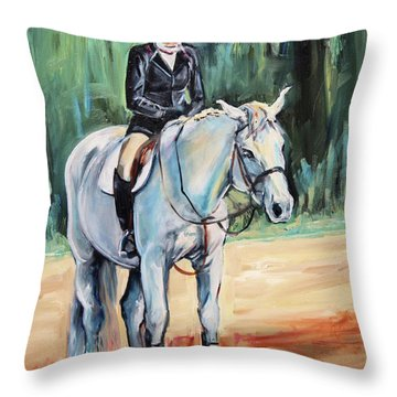 White Horse With Rider  Throw Pillow