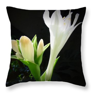 Throw Pillow featuring the photograph White Hostas Blooming 7 by Maciek Froncisz