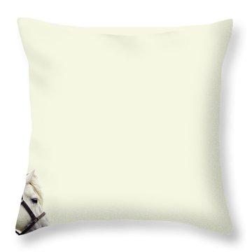 White Hourse Throw Pillow