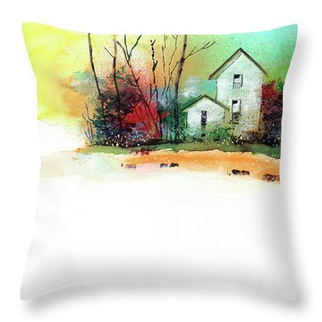 Throw Pillow featuring the painting White Houses by Anil Nene