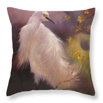 Throw Pillow featuring the painting White Hunter by Donelli  DiMaria
