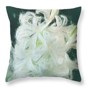 White Hyacinth Beauty Throw Pillow