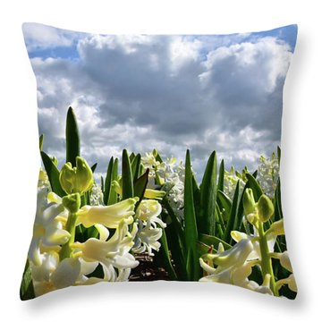 White Hyacinth Field Throw Pillow by Mihaela Pater