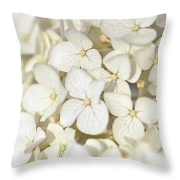 Throw Pillow featuring the photograph White Hydrangea by Kerri Farley