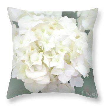 White Hydrangea Throw Pillow