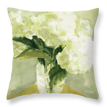 White Hydrangeas Morning Light Throw Pillow