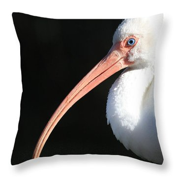 White Ibis Profile Throw Pillow by Carol Groenen