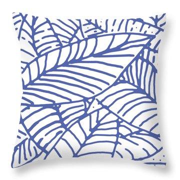 White Indigo Leaves Throw Pillow