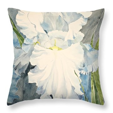 White Iris - For Van Gogh - Posthumously Presented Paintings Of Sachi Spohn   Throw Pillow