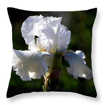 Throw Pillow featuring the photograph White Iris by Kathleen Stephens