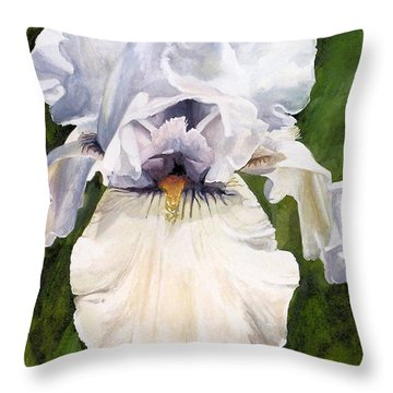 Throw Pillow featuring the painting White Iris by Laurie Rohner