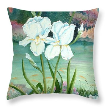 Throw Pillow featuring the painting White Iris Love by Renate Nadi Wesley