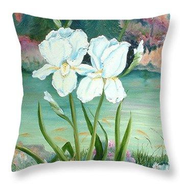 White Iris Love Throw Pillow