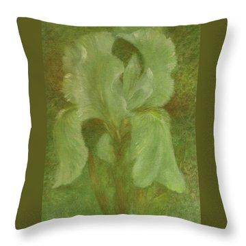 White Iris Painterly Texture Throw Pillow