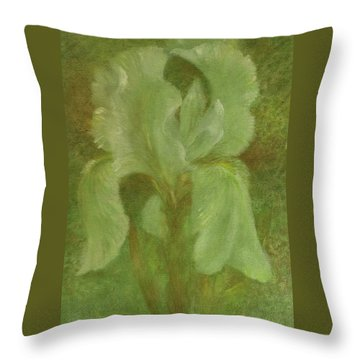 White Iris Painterly Texture Throw Pillow