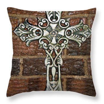 White Iron Cross 1 Throw Pillow by Angelina Vick