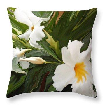 White Jasmine Throw Pillow by Corey Ford