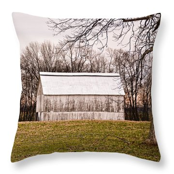 White Kentucky Tobacco Barn Throw Pillow by Greg Jackson