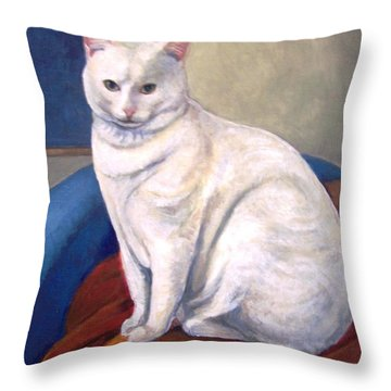 Throw Pillow featuring the painting White Kitty by Laura Aceto