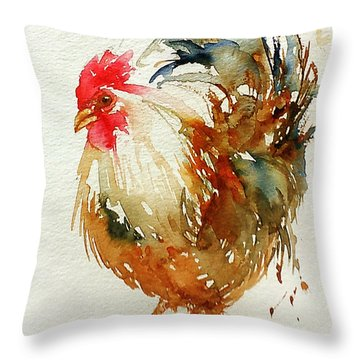 White Knight Rooster Throw Pillow
