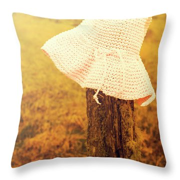 White Knitted Hat On Farm Fence Throw Pillow
