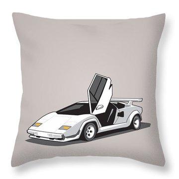 White Lamborghini Countach Throw Pillow