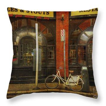 White Leopard Bicycle  Throw Pillow