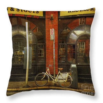 White Leopard Bicycle  Throw Pillow