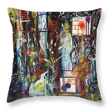 White Lies, Yellow Teeth Throw Pillow