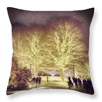 White Light Christmas Throw Pillow