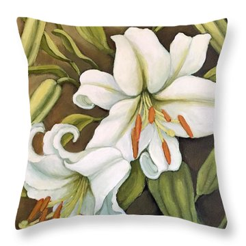 White Lilies Throw Pillow by Inese Poga