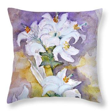 White Lilies Throw Pillow by Jasna Dragun