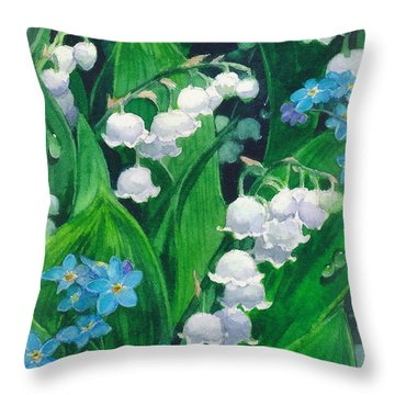 White Lilies Of The Valley Throw Pillow by Sergey Lukashin