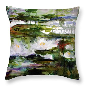 Throw Pillow featuring the painting White Lilies On Black Water Wetland by Ginette Callaway