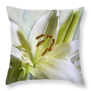 White Lilies On Blue Throw Pillow