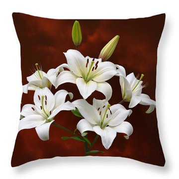 White Lilies On Red Throw Pillow