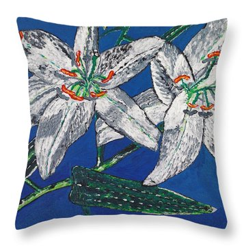 White Lilies Throw Pillow by Valerie Ornstein