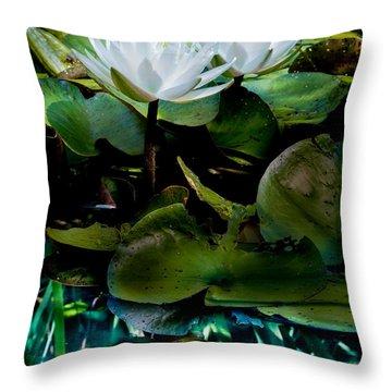 White Lilies, White Reflection Throw Pillow