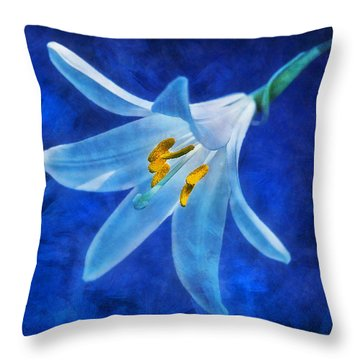 Throw Pillow featuring the digital art White Lilly by Ian Mitchell