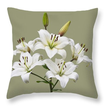 White Lilies Illustration Throw Pillow by Jane McIlroy