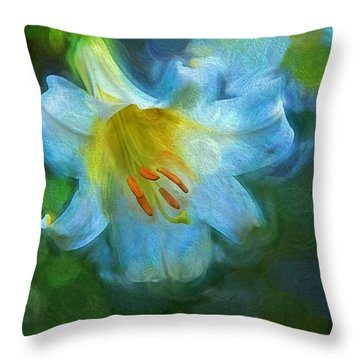 White Lily Obscure Throw Pillow