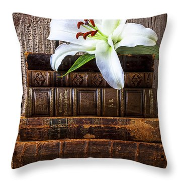 White Lily On Antique Books Throw Pillow