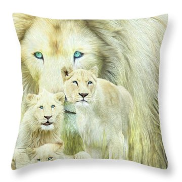 Throw Pillow featuring the mixed media White Lion Family - Forever by Carol Cavalaris