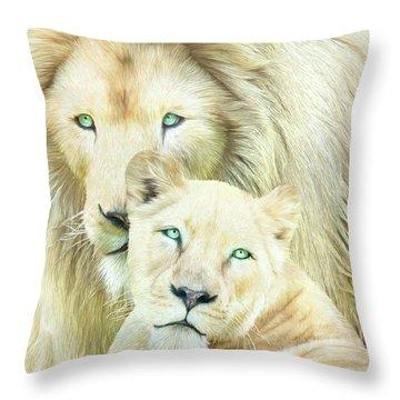 Throw Pillow featuring the mixed media White Lion Family - Mates by Carol Cavalaris