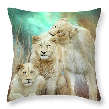 Throw Pillow featuring the mixed media White Lion Family - Mothering by Carol Cavalaris