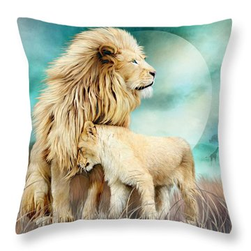Throw Pillow featuring the mixed media White Lion Family - Protection by Carol Cavalaris