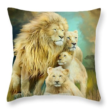 Throw Pillow featuring the mixed media White Lion Family - Unity by Carol Cavalaris